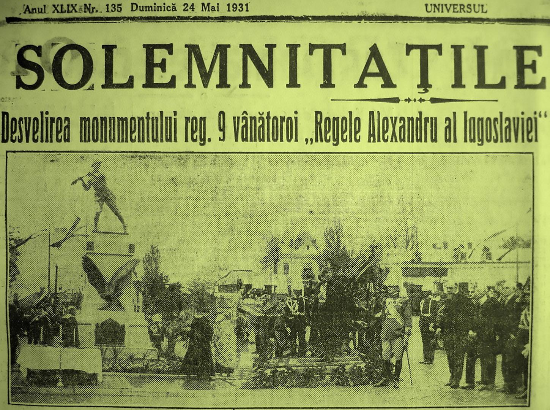 Dezvelire Monumentul Regimentului 9 Vanatori Regele Alexandru al Iugoslaviei PRIMA PAGINA ZIAR CARTIER COTROCENI