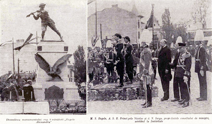 Inaugurare Monumentul Regimentului 9 Vanatori Regele Alexandru al Iugoslaviei Cartier Cotroceni