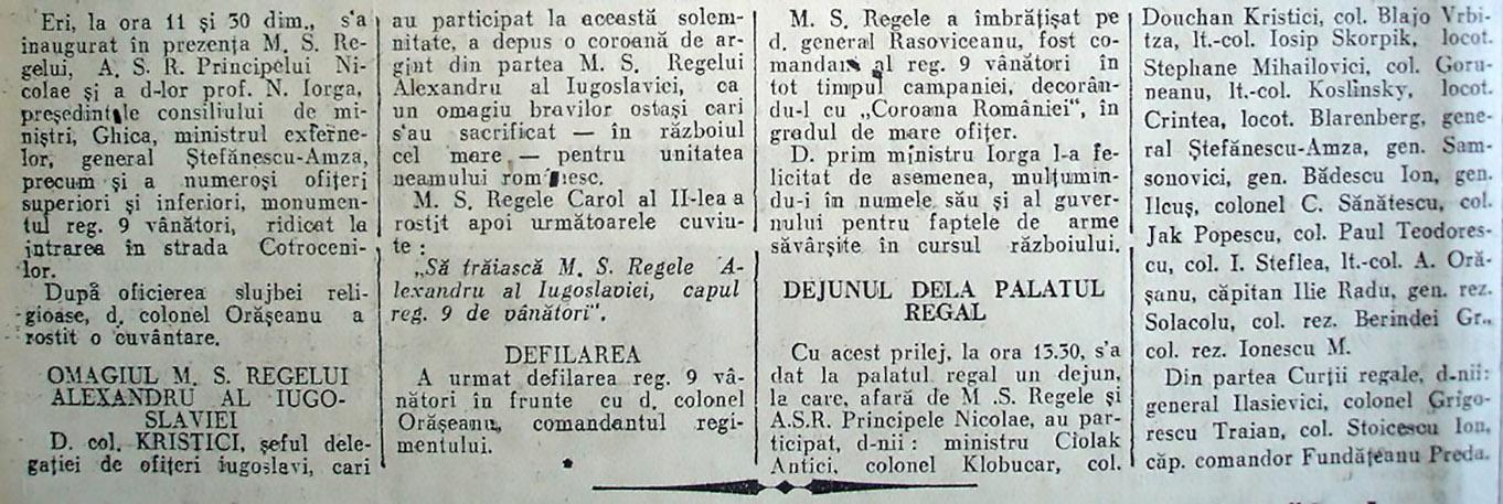 Monumentul Regimentului 9 Vanatori Regele Alexandru al Iugoslaviei ARTICOL ZIAR 1 COTROCENI