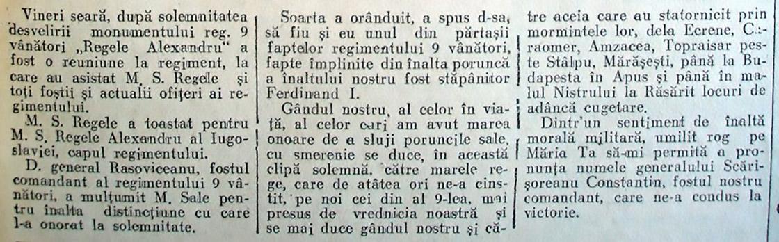 Monumentul Regimentului 9 Vanatori Regele Alexandru al Iugoslaviei ARTICOL ZIAR 2 COTROCENI