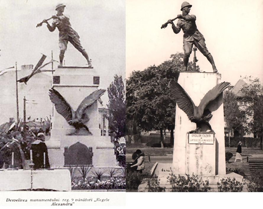 Monumentul Regimentului 9 Vanatori Regele Alexandru al Iugoslaviei soclul inlocuit cartierul cotroceni