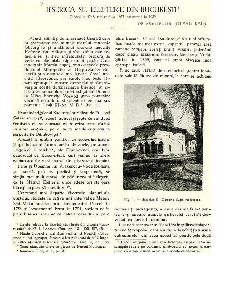 biserica sf elefterie vechi cartier cotroceni renovare perioada interbelica stefan bals perioada 1929 - 1935 Fila 3
