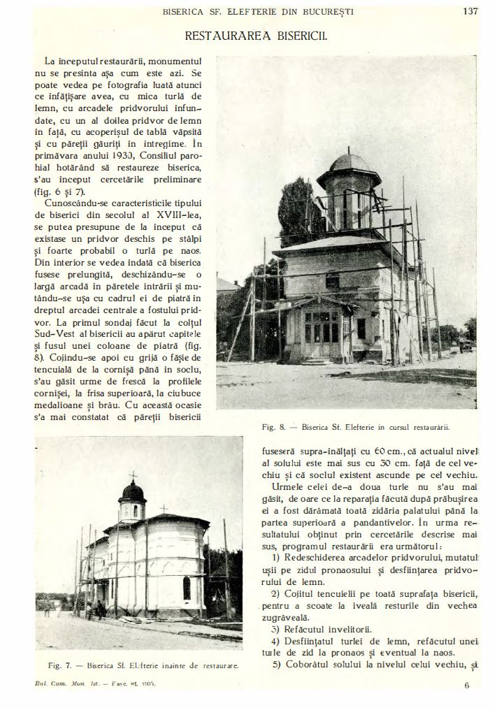 biserica sf elefterie vechi cartier cotroceni renovare perioada interbelica stefan bals perioada 1929 - 1935 Fila 7