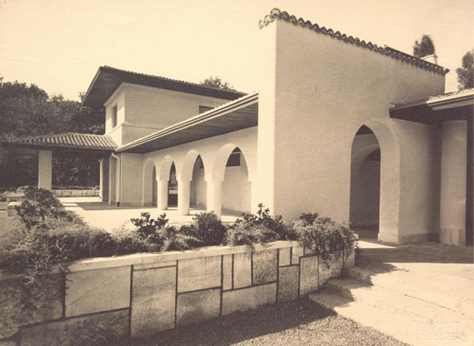 gradina botanica bucuresti cotroceni anul 1935 - cladirea restaurantului cofetarie proiectata de arhitectul Octav Doicescu - perioada interbelica 1